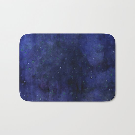 Galaxy Watercolor Nebula Texture Night Sky Stars Bath Mat