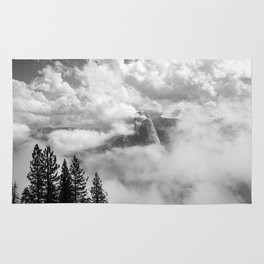 Half Dome in the Clouds, Yosemite National Park, Yosemite Photography, Black and White Photography Rug