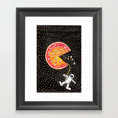 Take out pizza moon Framed Art Print