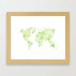 Green watercolor world map Framed Art Print