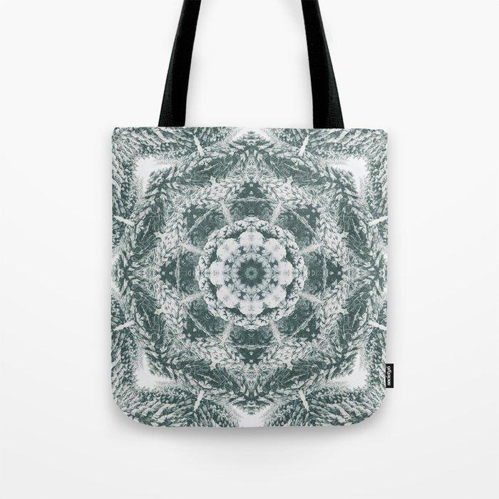Winter snowy spruce forest mandala Tote Bag