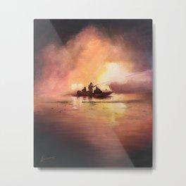 Marina Boat Fire - Fire Series Metal Print
