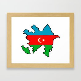 Azerbaijan Map with Azeri Azerbaijani Flag Framed Art Print