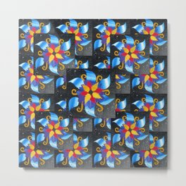 recycled math book pattern combined with other papers on a canvas by Cathy Jacobs Metal Print
