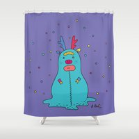 snowman Shower Curtains featuring snowman by PINT GRAPHICS