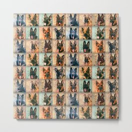 German Shepherd Dogs - GSD - Mosaic Metal Print