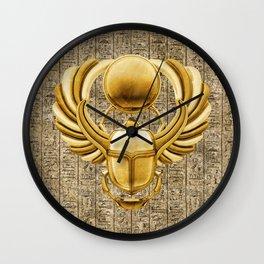 Gold Egyptian Scarab Wall Clock