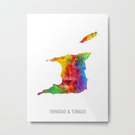 Trinidad & Tobago Watercolor Map Metal Print