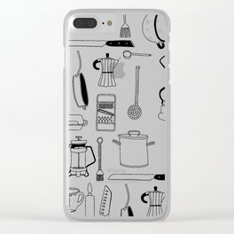 Kitchen essentials in black and white Clear iPhone Case