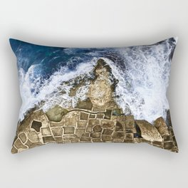 An abstract of the ocean and the coastal rocks. Rectangular Pillow