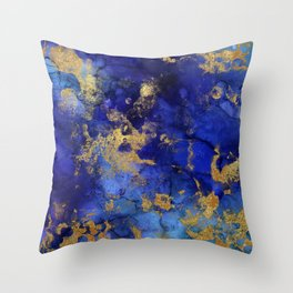 Gold And Blue Indigo Malachite Marble Throw Pillow