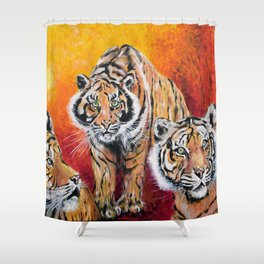 Three Lucky Tigers Shower Curtain