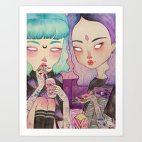 loll3 Art Prints featuring Pizza Party by lOll3