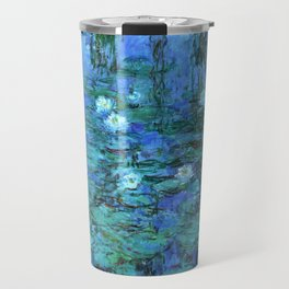 Claude Monet Water Lilies BLUE Travel Mug
