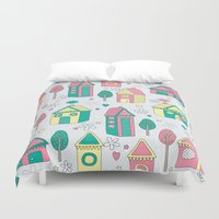 home sweet home Duvet Covers featuring Home by One April