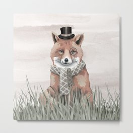 Fox in the Field Metal Print