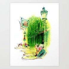 Cafe in Bruges Art Print