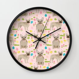 French Bulldog fawn coat easter eggs easter spring themed dog art pet portraits Wall Clock
