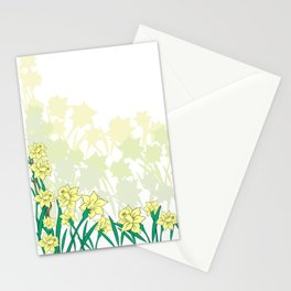 Abstract narcissi border Stationery Cards