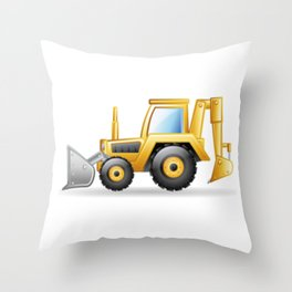 Yellow Excavating Tractor Icon Throw Pillow