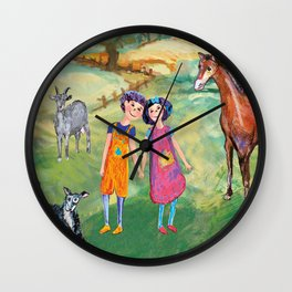 Kids on the countryside, colourfull illustration for kids Wall Clock