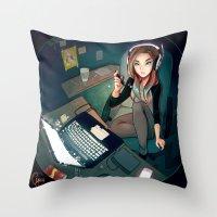 cyarin Throw Pillows featuring Digital Artist by Cyarin