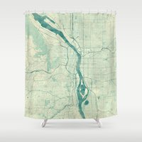portland Shower Curtains featuring Portland Map Blue Vintage by City Art Posters