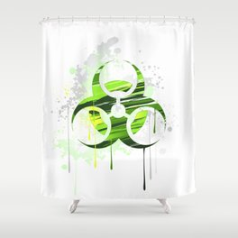 Symbol of Biological Danger Drawn with Paint Shower Curtain