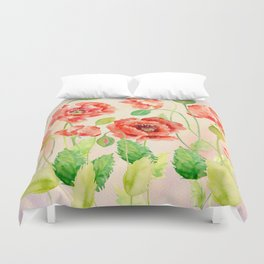 Watercolor Red Oriental Poppies Duvet Cover
