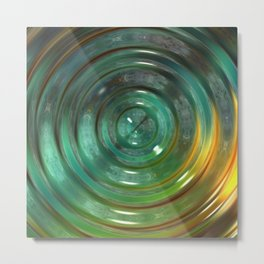 Metallic Green Swirl Metal Print