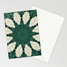Tropical Sacramento Green and Silver Leaf Mandala Stationery Cards