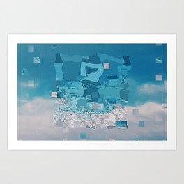 falling blue Art Print