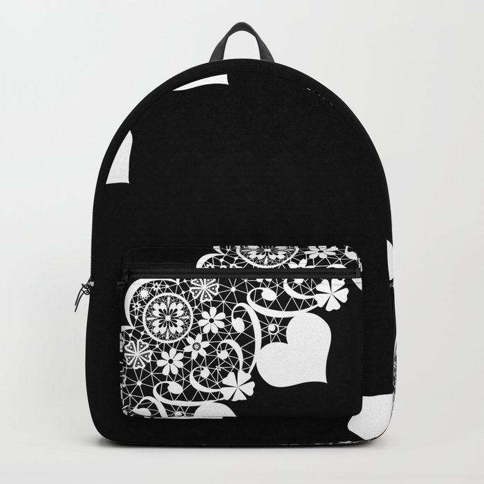 Retro . White lace on a black background . Backpack
