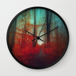 Red Forest Dream Wall Clock