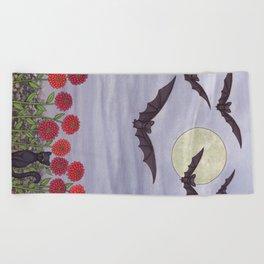 bats, zinnias, and black cat Beach Towel