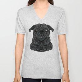 Little black pug Unisex V-Neck