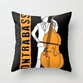 Double bass instrument musician concert Throw Pillow