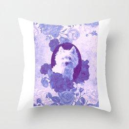 Westie & Roses Vintage Violet Frame Throw Pillow