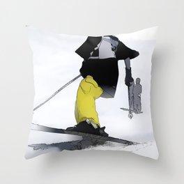 Ski Run Finish Throw Pillow