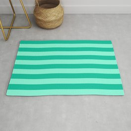 Teal and Aqua Mint Stripes Rug