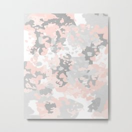 camo pink and grey abstract brushstrokes modern canvas art decor dorm college Metal Print