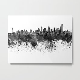 Seattle skyline in black watercolor on white background Metal Print