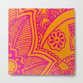 Floral Pattern | Pink and Orange Metal Print