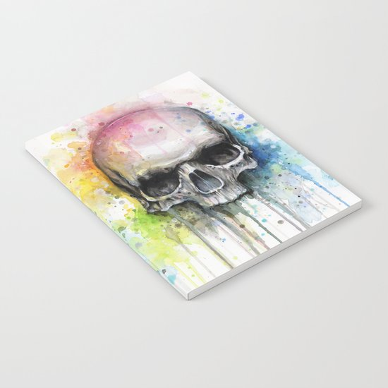 Skull Rainbow Watercolor Painting Skulls Notebook