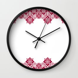 Retro .Vintage . Red lace on a white background . Wall Clock