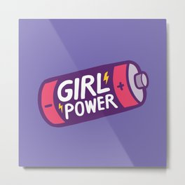 Girl Power Pattern in Purple Metal Print