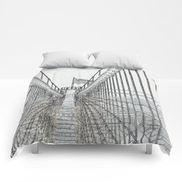 Brooklyn Bridge Cables Abstract Comforters