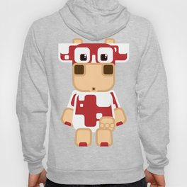 Super cute cartoon cow in red - a moo-st have design for  cow enthusiasts! Hoody