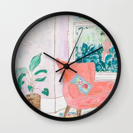 A Room with a View - Pink Armchair by the Window Wall Clock