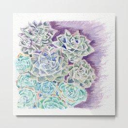 Succulents Watercolor Metal Print